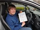 John Gunner with his driving test pass certificate